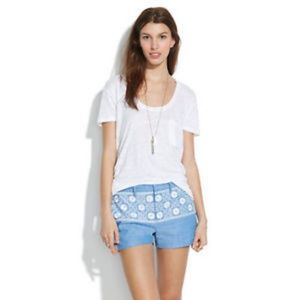 Madewell Chambray Sunstitch Embroidered Shorts 8